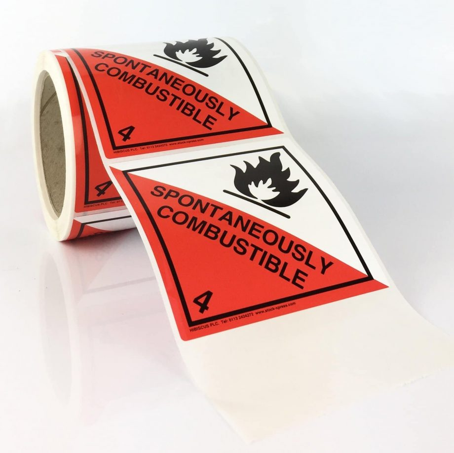 class 4.2 labels spontaneously combustible labels