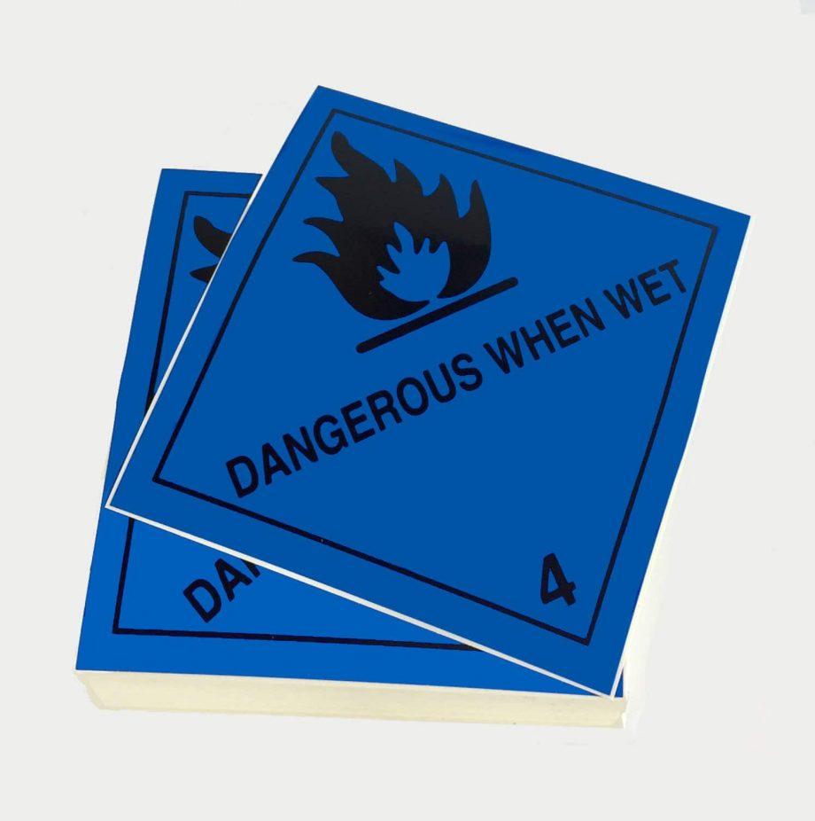 class 4.3 labels dangerous when wet labels singles