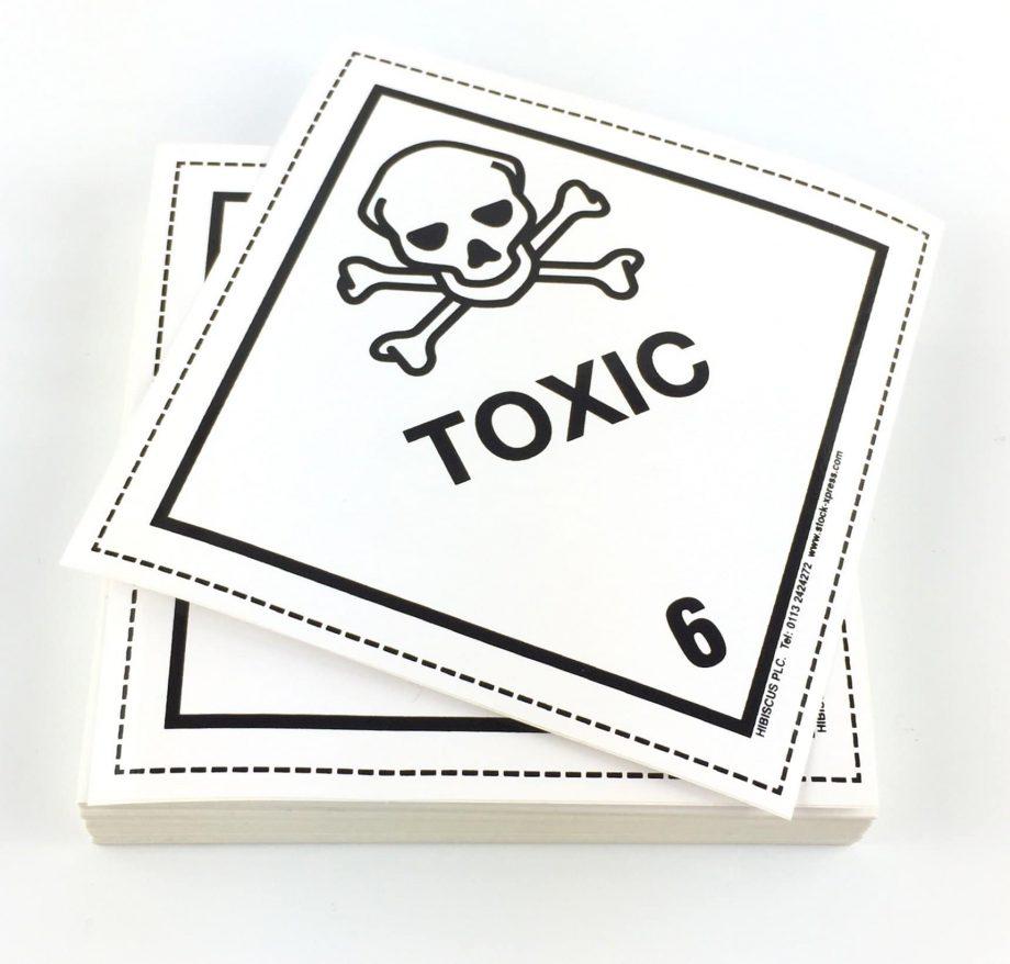 toxic labels, 6.1 labels, class 6 labels