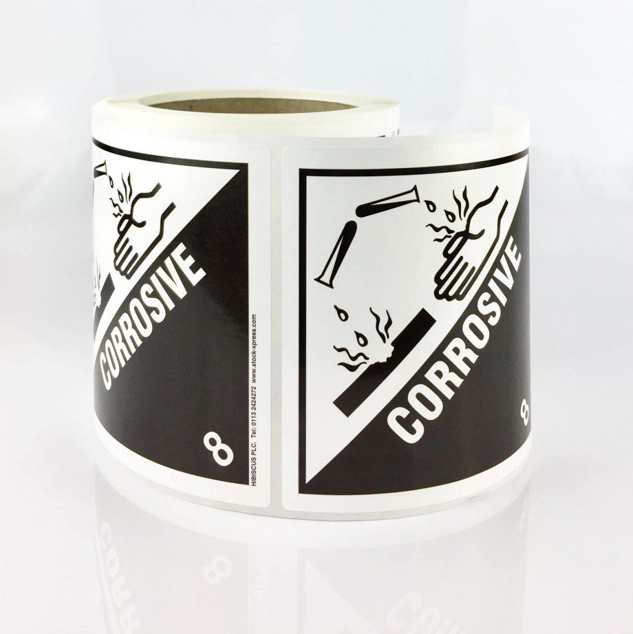 corrosive labels, corrosive label, class 8 label