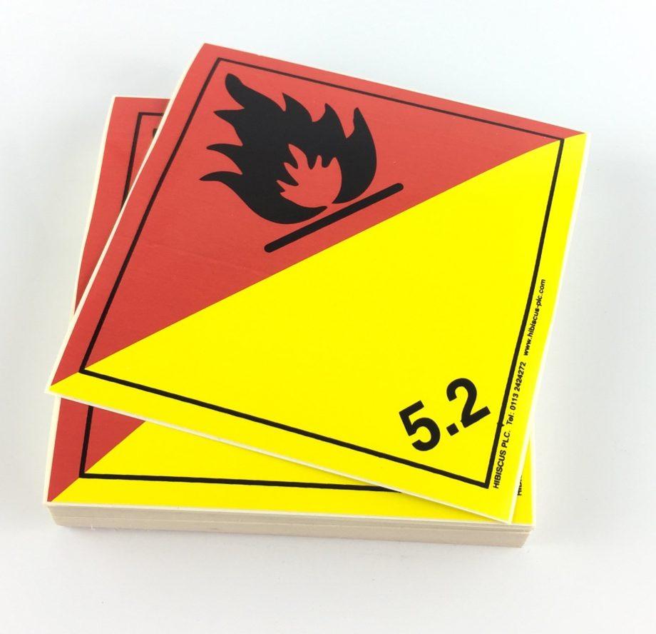 Class 5.2 Labels. Organic Peroxide labels