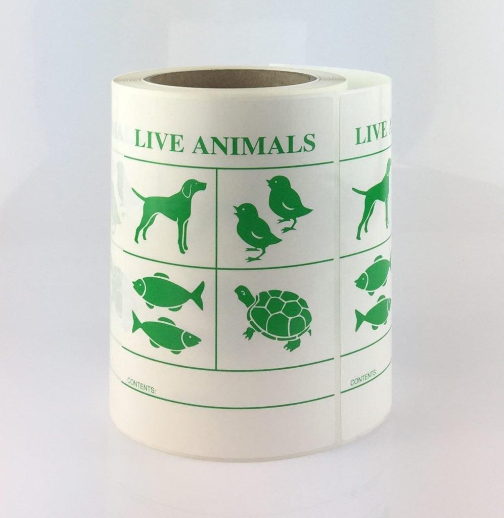live animal label, live animals label
