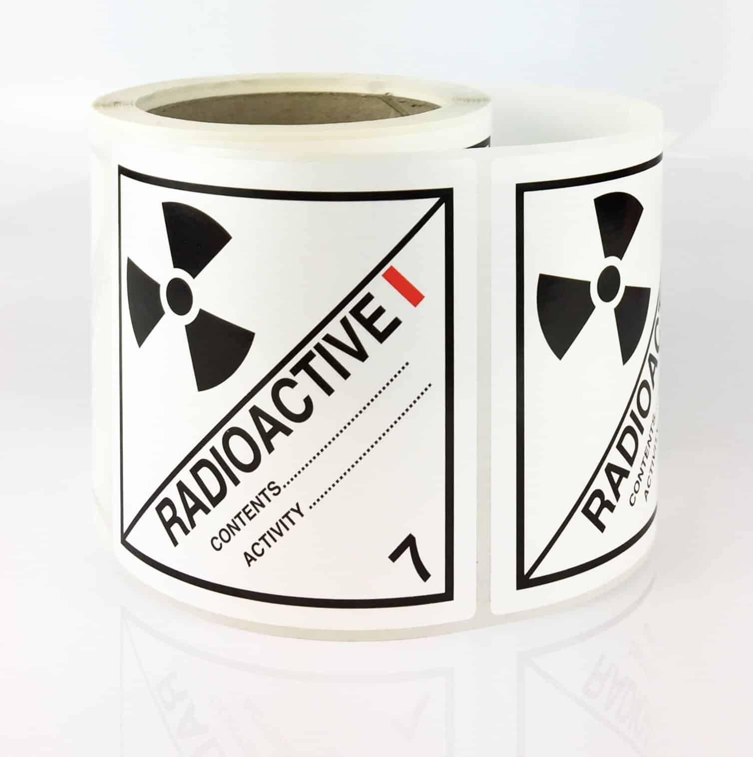 Class 7 Labels. Radioactive Label, White-I 100mm X 100mm