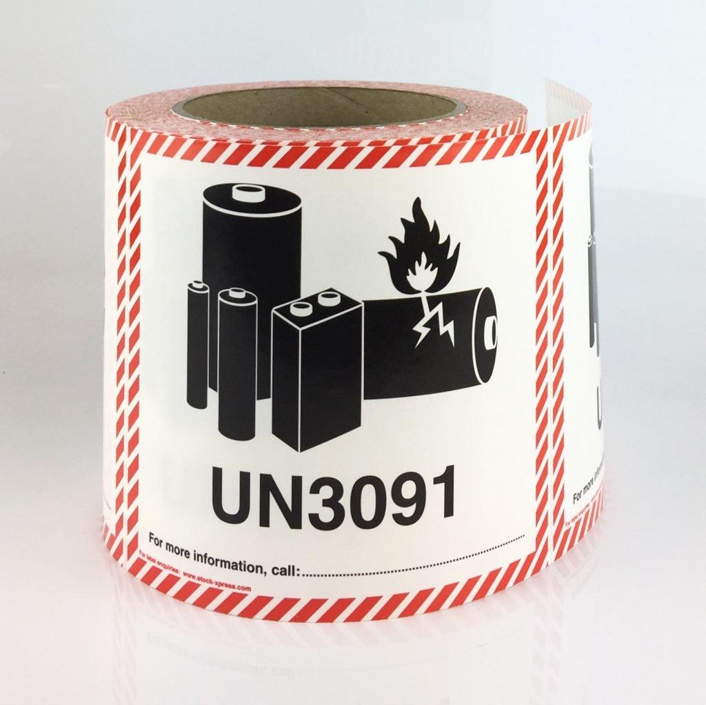 lithium battery labels UN3091