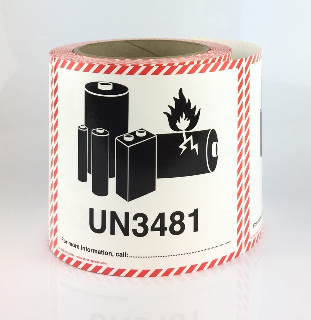 lithium battery label UN3481