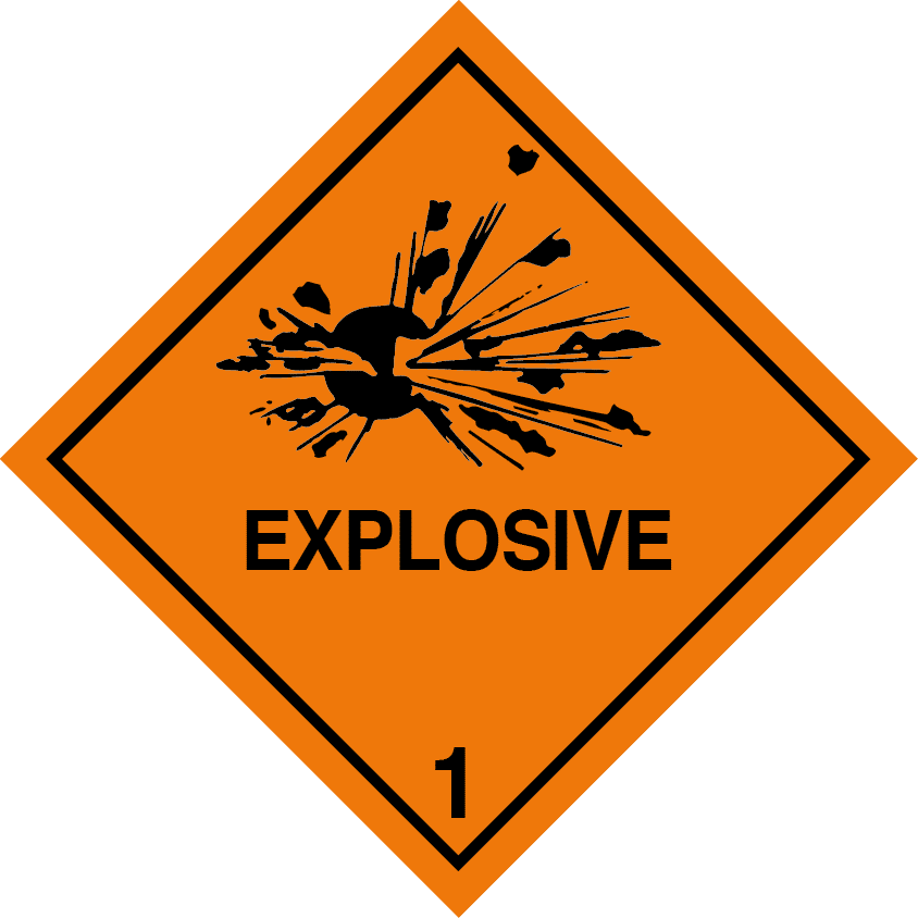 explosive placard, class 1 placard