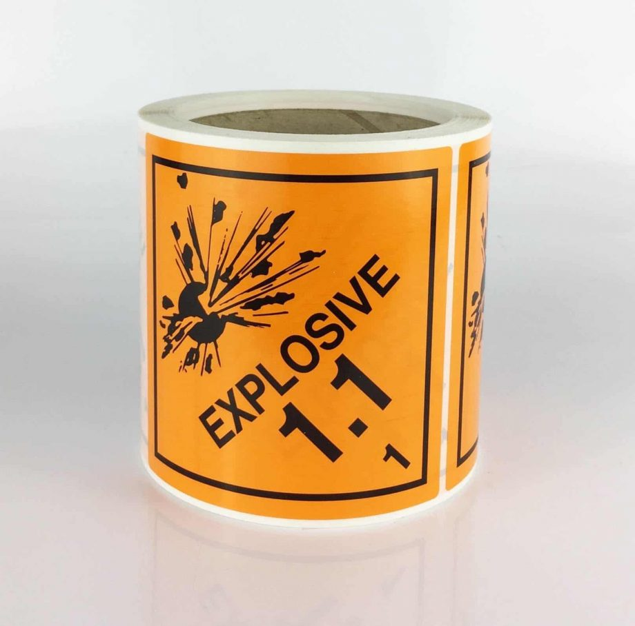 explosive label, class 1 labels