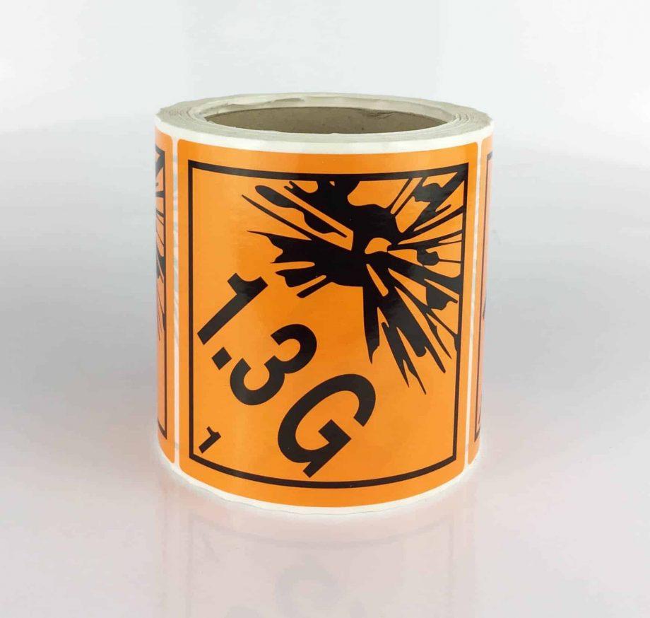 class 1.3G labels explosive label