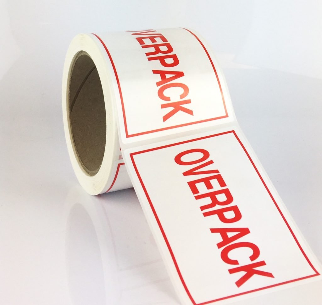 overpack labels red