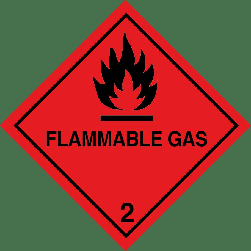flammable gas placard, class 2.1 placard