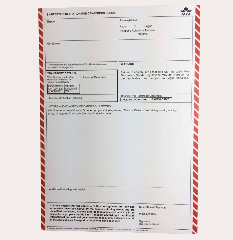 IATA dgn dangerous goods note