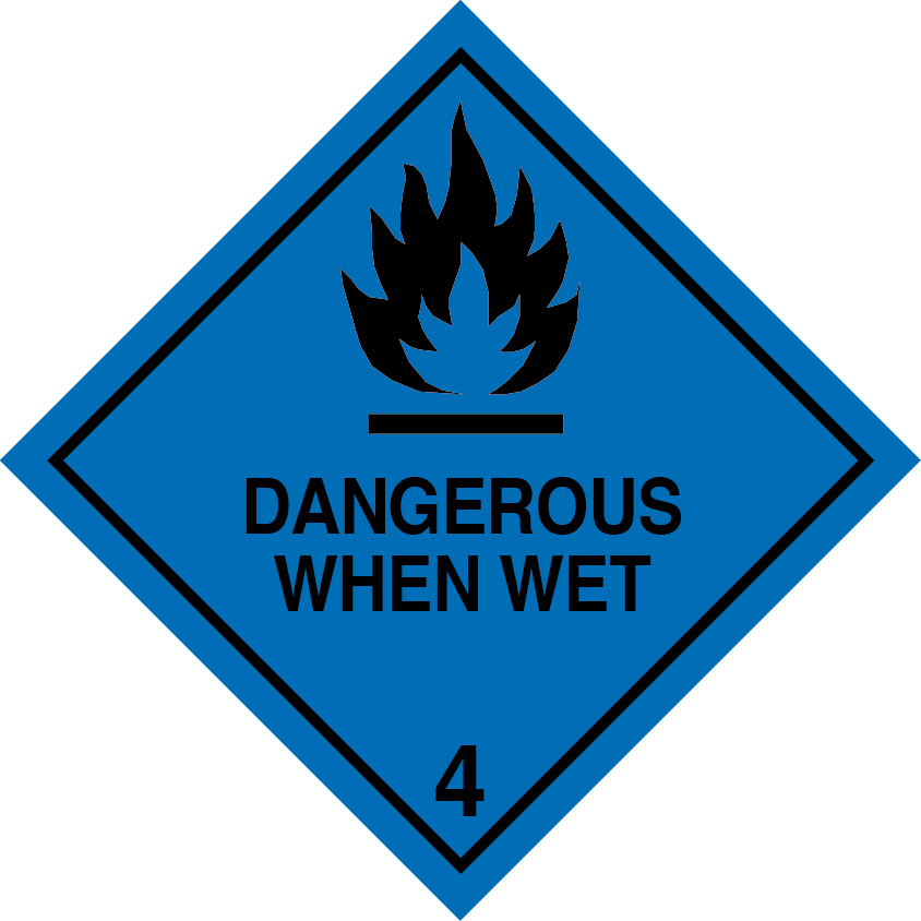 DANGEROUS WHEN WET LABELs, class 4.3 label