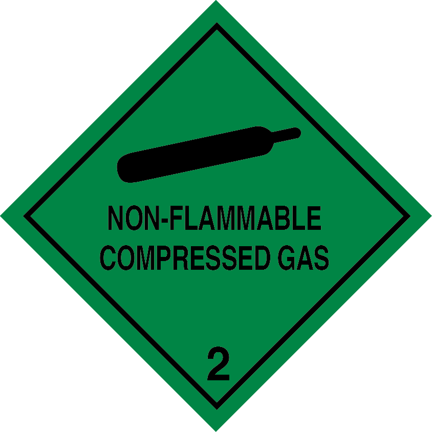 Non-Flammable Compressed Gas placard, 2.2 placard