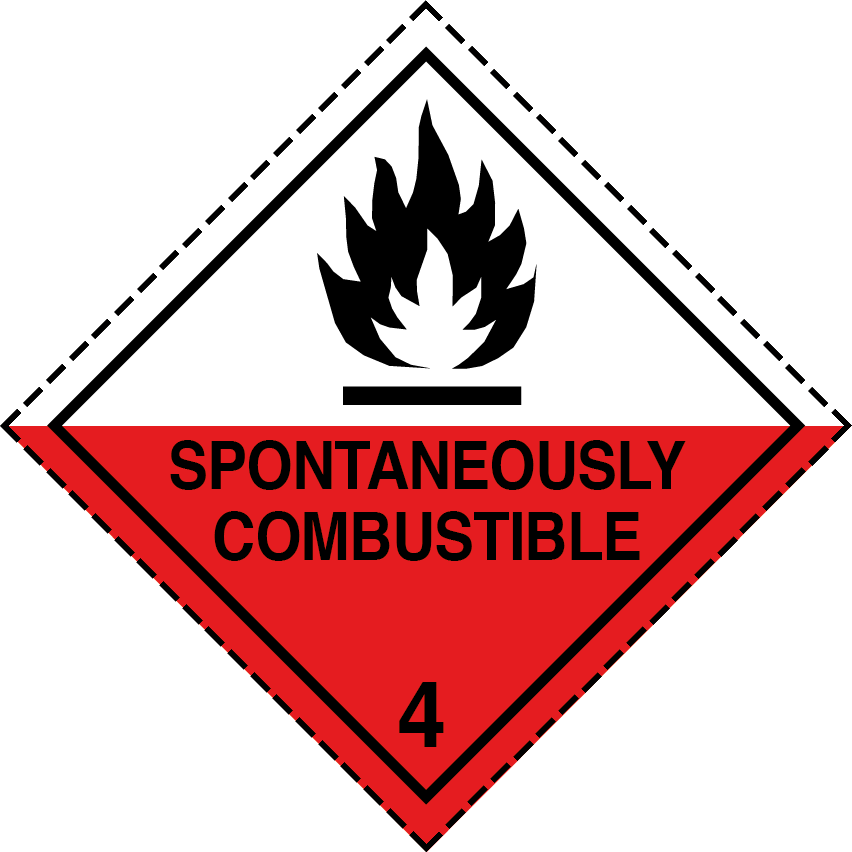 spontaneously combustible label, class 4.2 labels