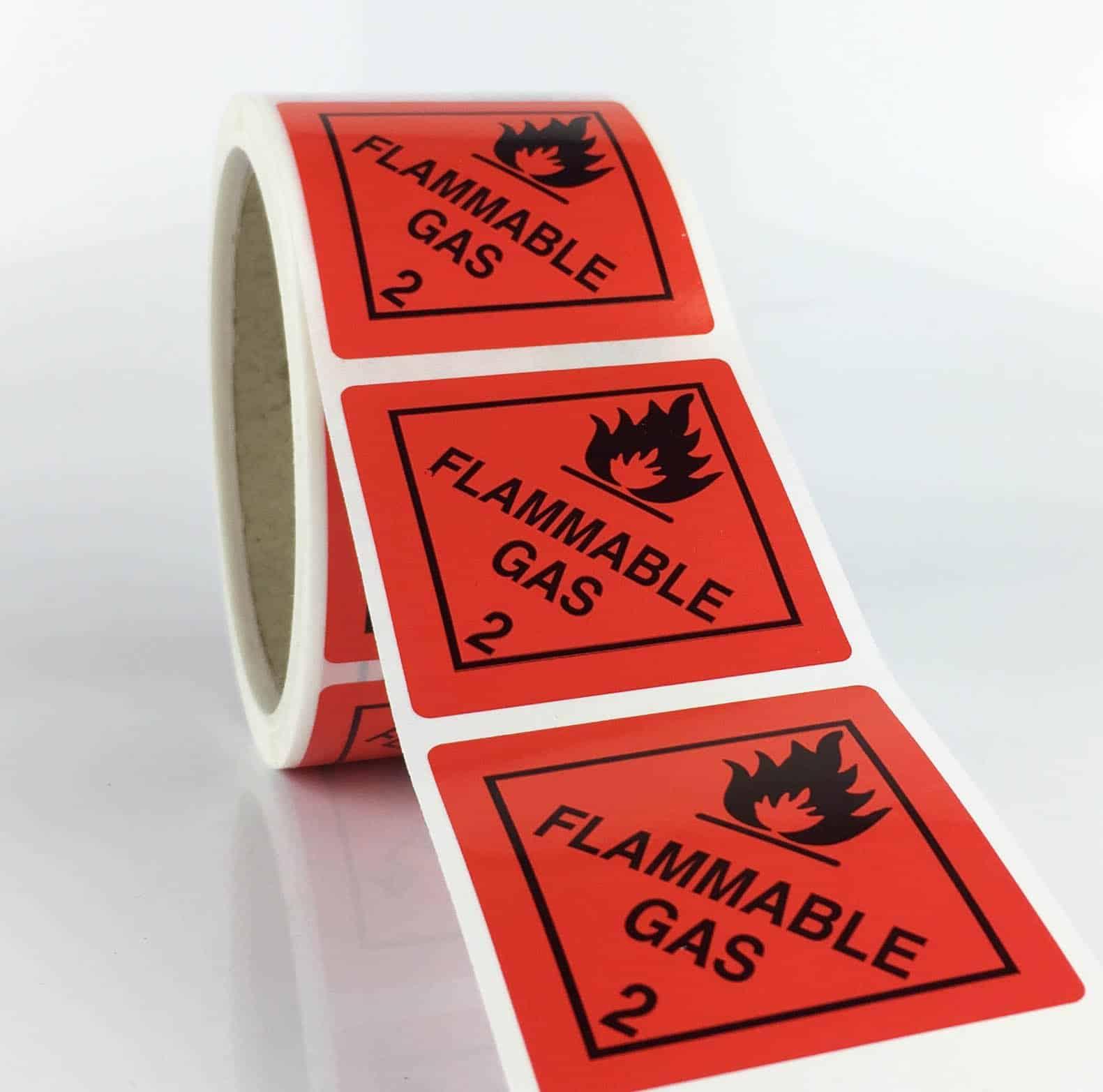 Class 2.1 Labels. Flammable Gas (Rolls) 50mm X 50mm