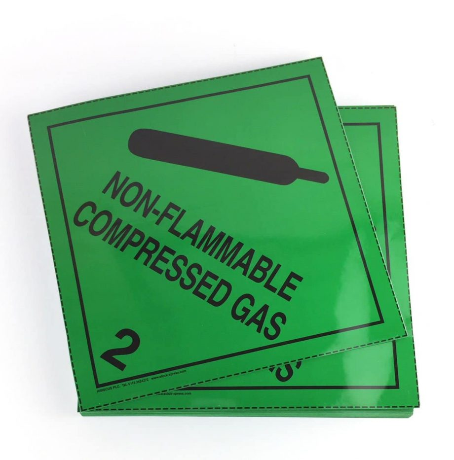 non flammable compressed gas placard, class 2.2 placard