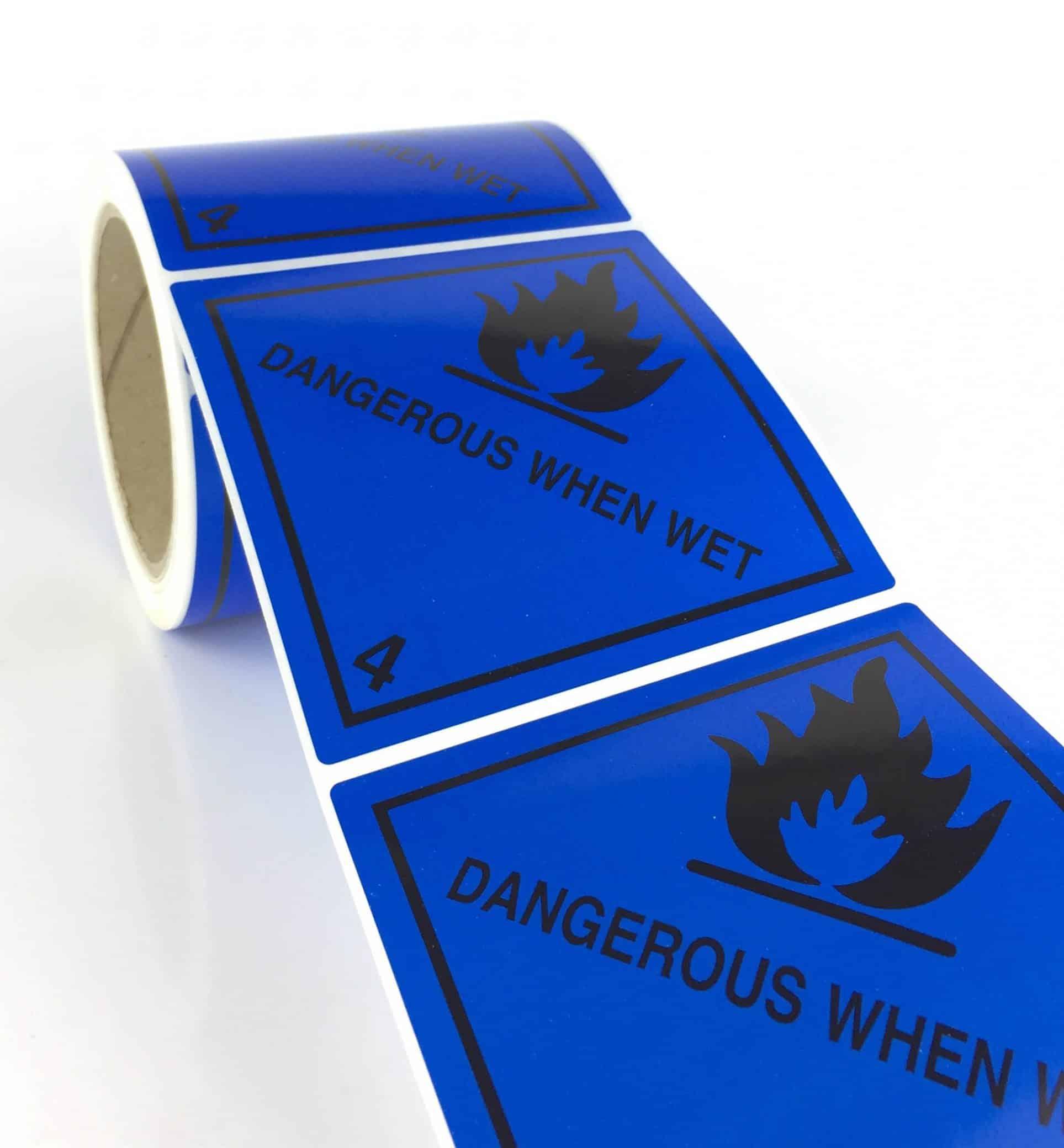 Class 4.3 Labels. Dangerous When Wet 100mm X 100mm (Rolls