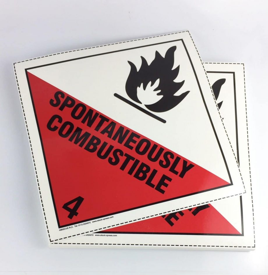 spontaneously combustible placards class 4.1 placards