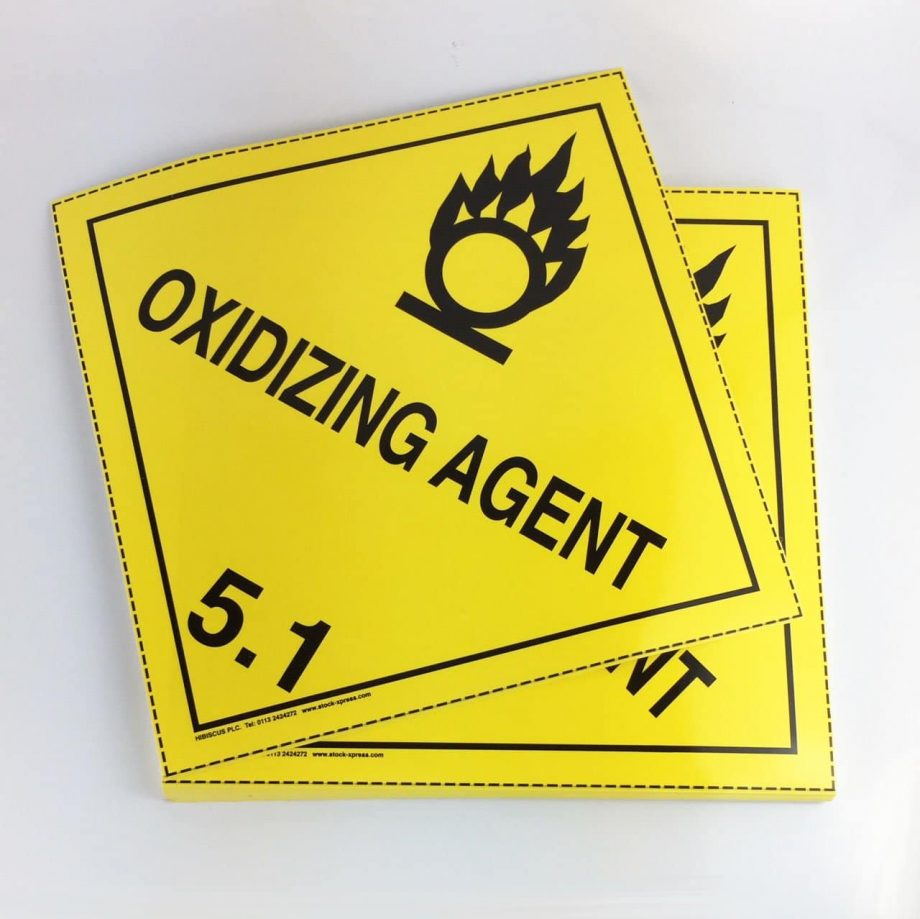 oxidizing agent placards 5.1 placards