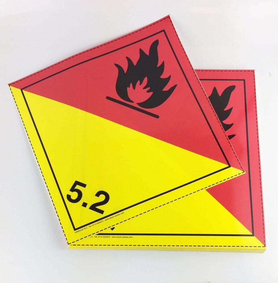 Class 5.2 placards Organic Peroxide Placards