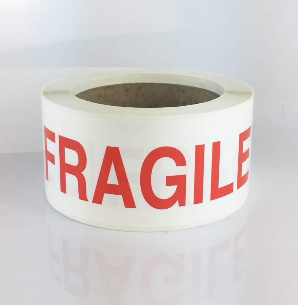 fragile label red text