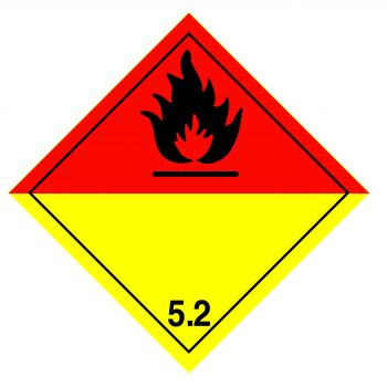 organic peroxide label, class 5.2 label, class 5.2 labels