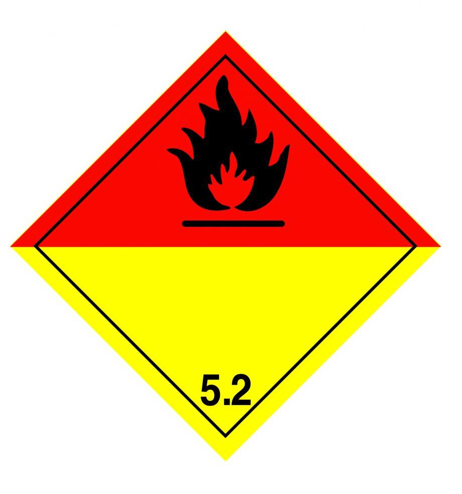 organic peroxide label, class 5.2 label, class 5.2 labels
