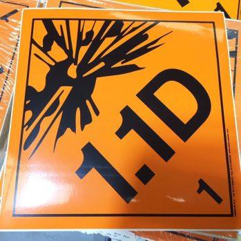 1.1D label, explosive class .1D labels