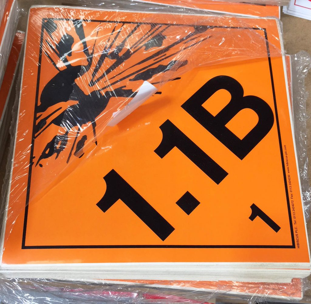 class 1.1b explosive labels