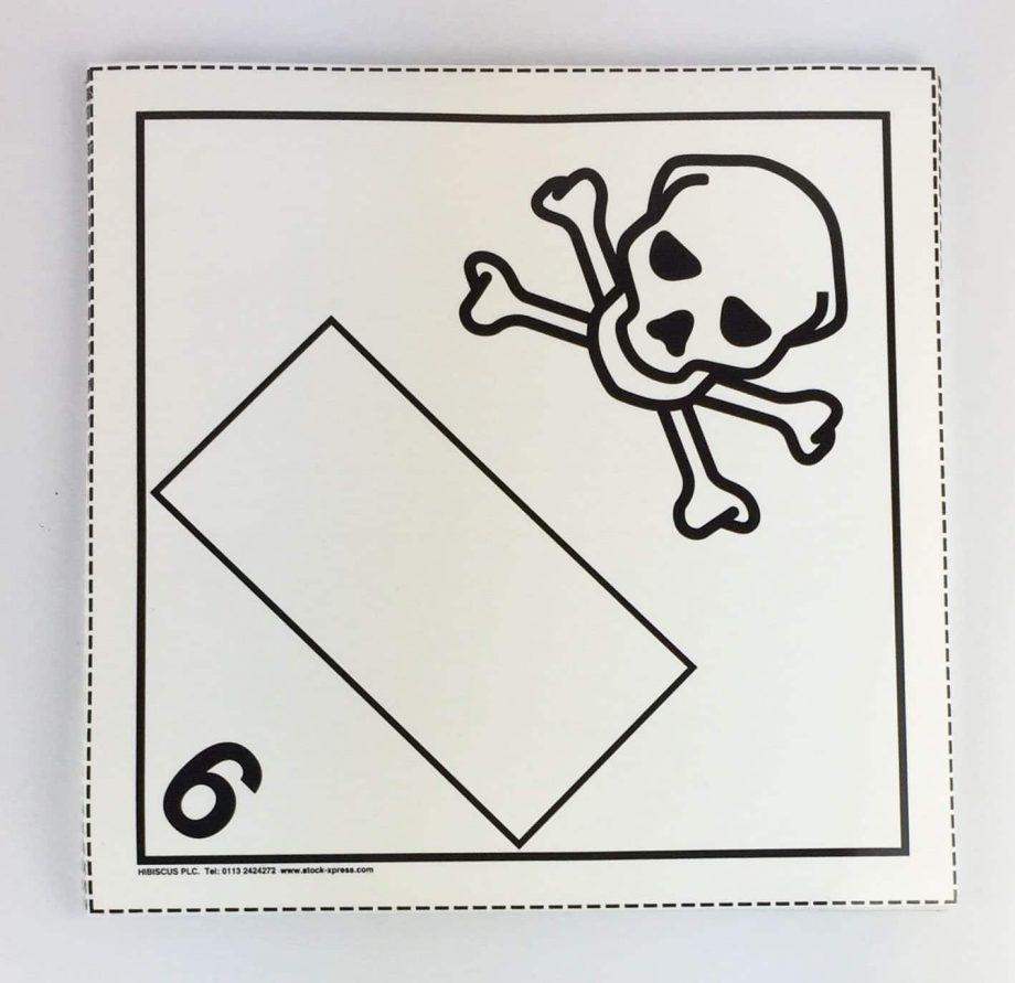 toxic placard blank un box 6.1 placard