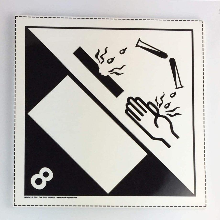 class 8 placard with blank un box