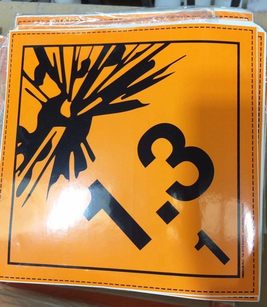 explosive label, class 1.3 placards