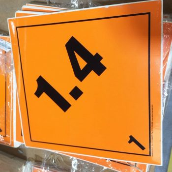 explosive labels, 1.4 placard