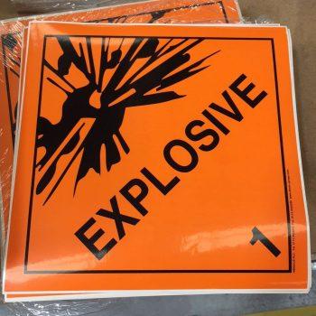 explosive labels class 1