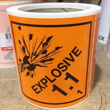 explosive labels, class 1.1 label