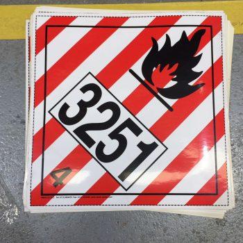class 4.1 placard un3251 flammable liquid placard