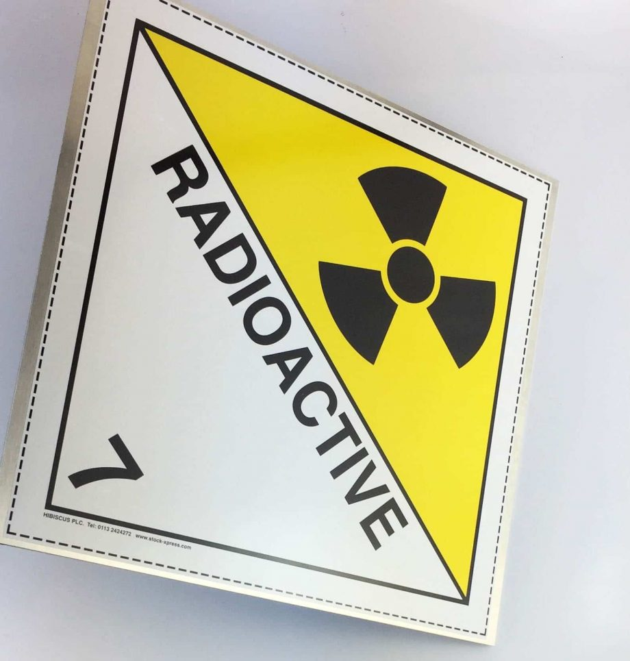 class 7 placard, radioactive placard on aluminium plate
