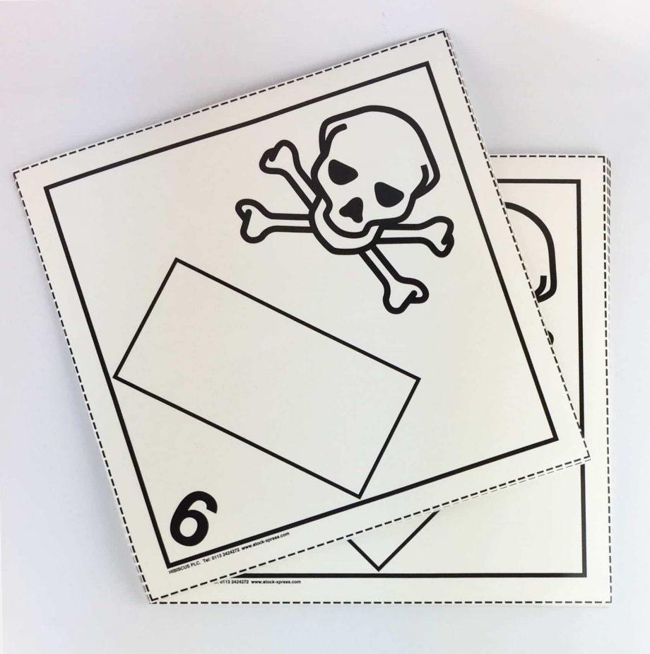 toxic placards blank un box 6.1 placards