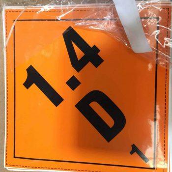 1.4D labels explosive label