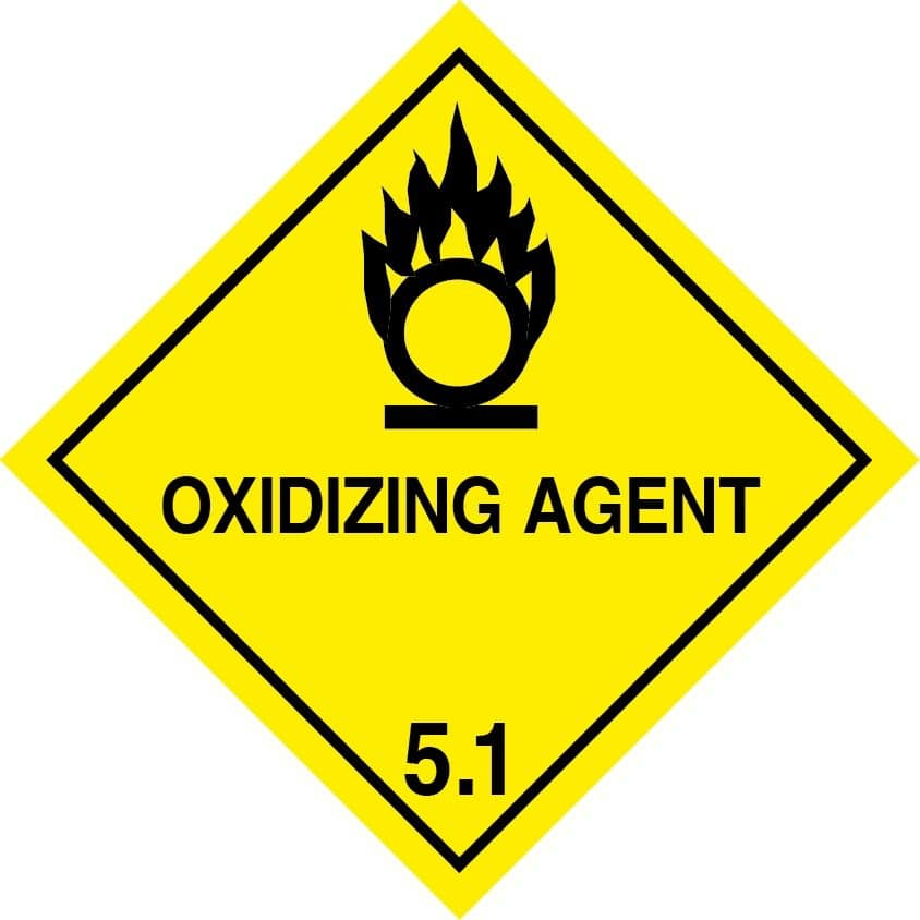 oxidizing agent label, oxidising agent labels, Class 5.1 label