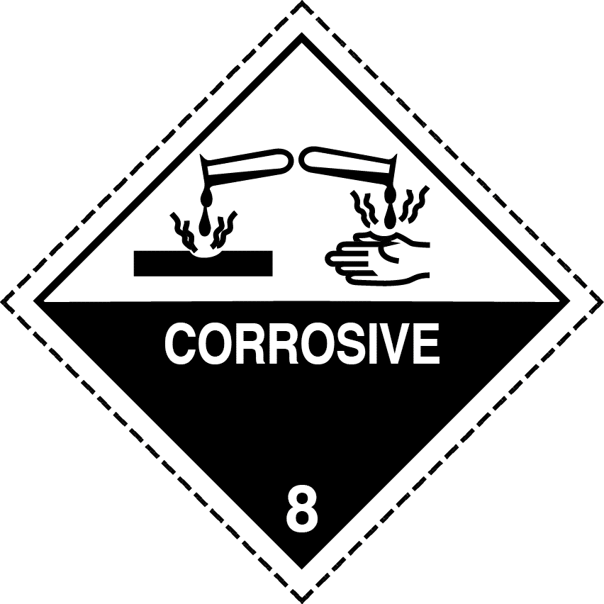class 8 label, class 8 placard, corrosive label