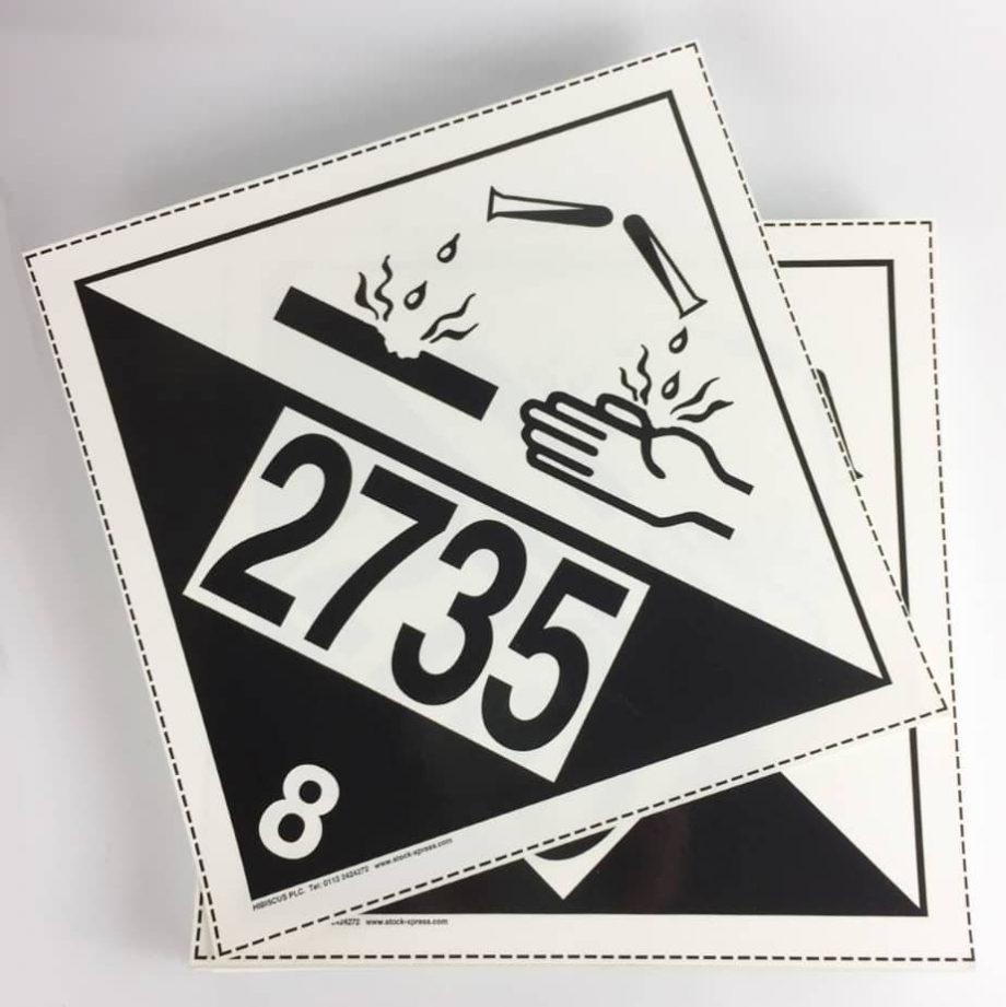corrosive placard class 8 un2735