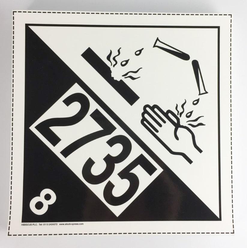 corrosive un 2735 placard