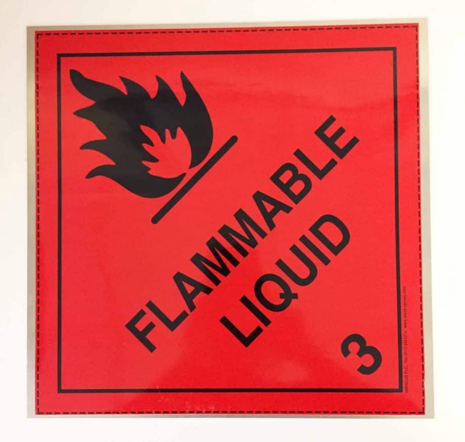 class 3 placard flammable liquid on metal base