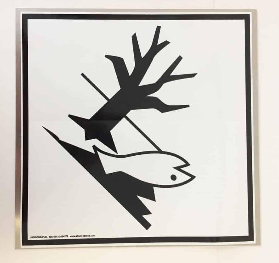 environmentally hazardous placard on metal