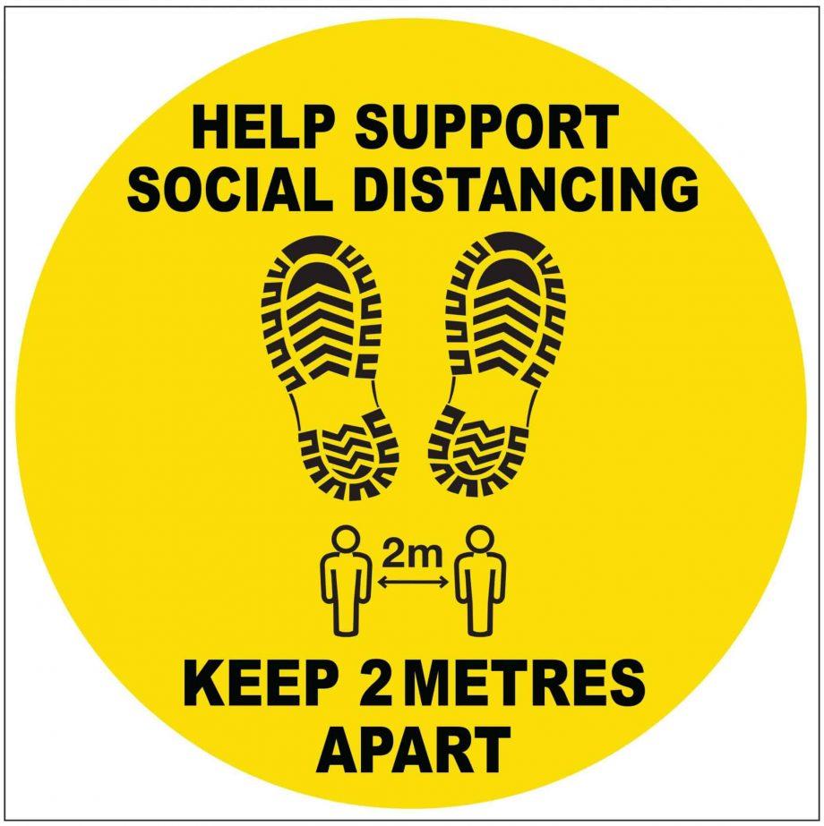 social distancing floor sign covid 19
