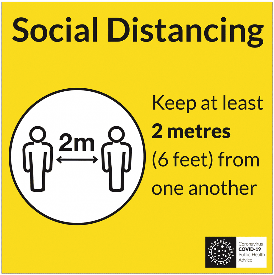 covid 19 floor sign for social distancing